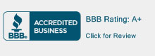 BBB Accredited Business Seal. BBB Rating A+. Click for review.